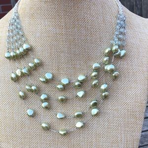Pastel Green Multi-strand Beaded Necklace